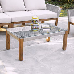 Brendina Outdoor Glass-Top Cocktail Table,