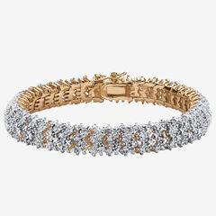 Yellow Gold-Plated Round Genuine Diamond Tennis Bracelet,