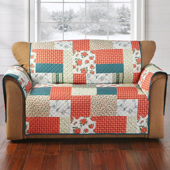 Printed Faux Patchwork Loveseat Protector,
