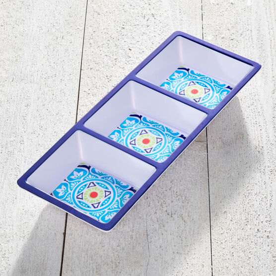 Blue Casab Melamine 3-Section Tray, MULTI