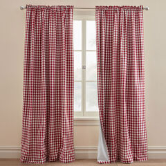 Gingham Rod-Pocket Blackout Panel, BURGUNDY