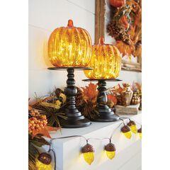 "16"" Pre-Lit Glass Pumpkin on Metal Stand, ORANGE"