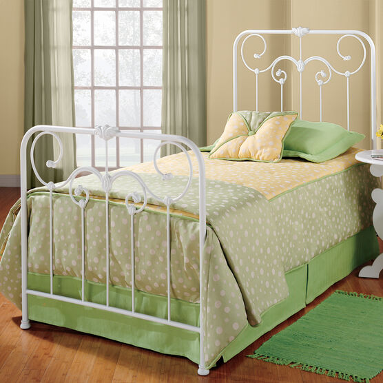 Twin Bed with Bed Frame, 76'Lx36'Wx53'H, WHITE