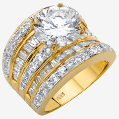 Gold over Silver Engagement Ring Cubic Zirconia (7 1/7 cttw TDW),