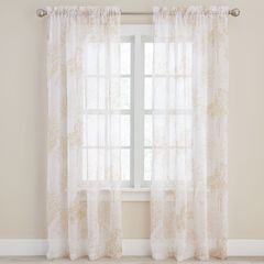 Printed Leaf Sheer Voile Rod-Pocket Panel,