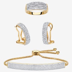 "18K Gold-Plated Diamond Accent Demi Hoop Earrings, Ring and Adjustable Bolo Bracelet Set 9"","