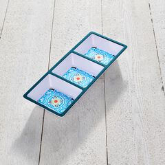 Blue Casab Melamine 3-Section Tray,