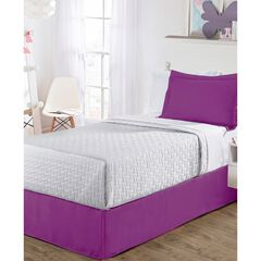 "Luxury Hotel Classic Tailored 14"" Drop Purple Bed Skirt, PURPLE"