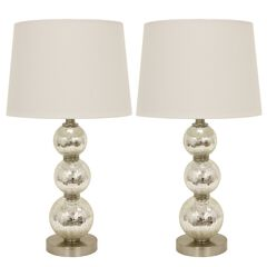 1 Set Mirrored Crackle Mercury Tri-Tiered Glass Table Lamp White Linen Hardback Shade by J. Hunt, MIRROR
