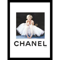 Chanel Marilyn Monroe Tutu 14x18 Framed Print, WHITE BLACK