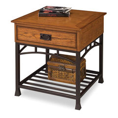 Modern Craftsman Distressed Oak End Table,