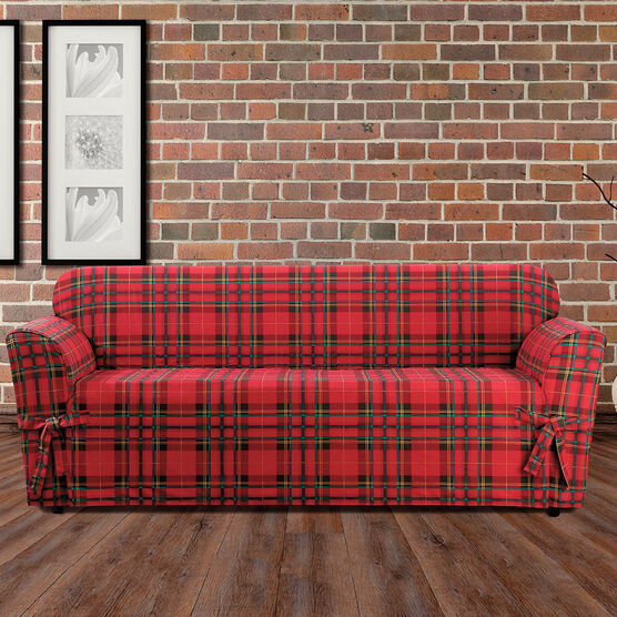 Highland Plaid Relaxed-Fit Sofa Slipcover, RED