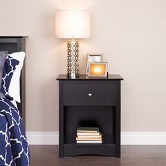 Sonoma 1-Drawer Tall Nightstand, Black,