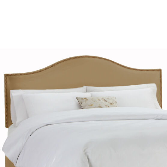 """Full Size Upholstered Curved Top Nail Button Border Headboard, 56""""Lx4""""Wx51""""H, KHAKI"""