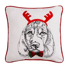 Holiday Dog with Antlers Pillow ,