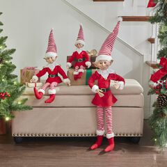 "38""H Posable Christmas Elf , RED WHITE"