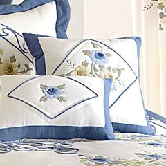 Ava Embroidered Cotton 16' Square Pillow,