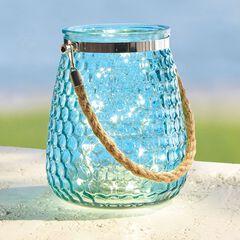 Pre-Lit Blue Glass Lantern,