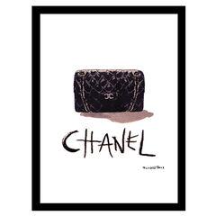 Chanel Classic Bag - Black / White - 14x18 Framed Print,