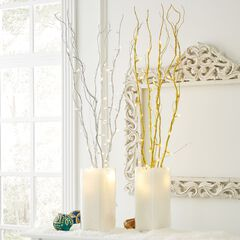 Set of 5 Cordless Pre-Lit Shimmer Branches with Timer ,