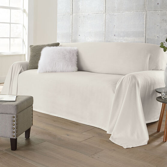 Dani Dropcloth-Style Sofa Cover , IVORY