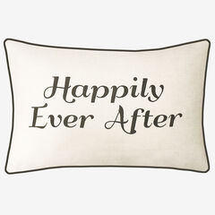 "Embroidered ""Happily Ever After"" Decorative Pillow, CREAM BLACK"
