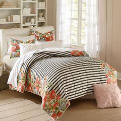 Bria Striped Floral Quilt,