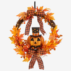 "24"" Jack-O-Lantern Wreath,"