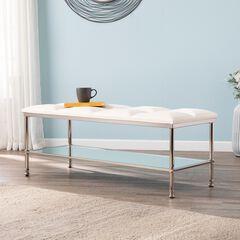 Paschall White Storage Bench with Mirrored Shelf,