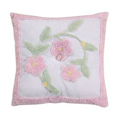 Bloomfield Collection in Floral Design 100% Cotton Tufted Chenille Square Pillow ,