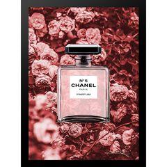 """Chanel Bottle Floral Wallpaper Dark Pink 14"""" x 18"""" Framed Print,"""