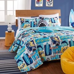 Greenland Home Fashions Wave Rider Quilt and Pillow Sham Set,