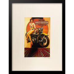 Vintage Harley Davidson Motorcyles 14x18 Framed Print,