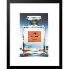 "Classic Chanel Perfume Bottle Clear 14"" x 18"" Framed Print,"