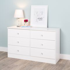 Astrid 6-Drawer Dresser with Acrylic Knobs, White,