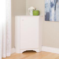 Elite White Corner Storage Cabinet,