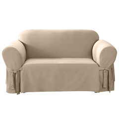 Mix & Match Solid Cotton Loveseat Slipcover , NATURAL
