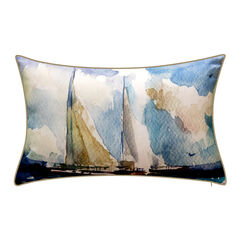 Indoor & Outdoor Watercolor Sailboats Decorative Pillow,