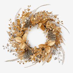 Pre-Lit Gold & Silver Wreath,