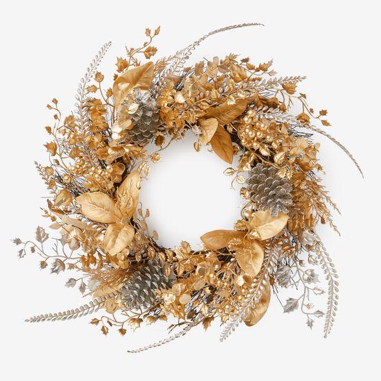 Pre-Lit Gold & Silver Wreath, GOLD SILVER LIGHTS