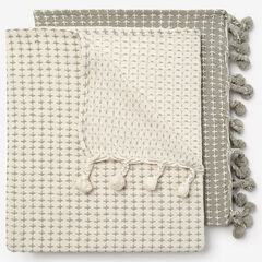 2-Pack Throw Set, IVORY SILVER