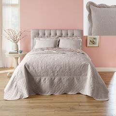 Lily Damask Embossed Bedspread,