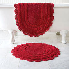 Oval Crochet Bath Rug, RED