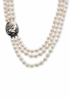 "Silver Tone Multi Strand Cameo Necklace Cultured Freshwater Pearl 28"","