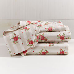 200-TC Percale Lines & Roses Sheet Set, TAUPE