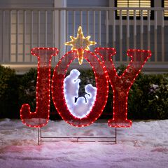 """45""""H Pre-Lit """"Joy"""" Sign with Holy Family,"""