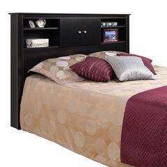 Black Full/Queen Kallisto Bookcase Headboard with Doors,