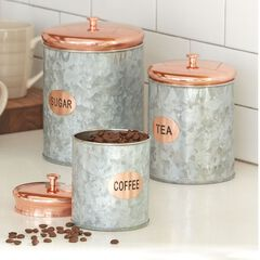 Set of 3 Galvanized Metal Canisters,