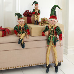 "38""H Posable Christmas Elf, RED GREEN GOLD"