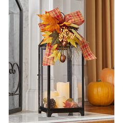 "24"" Harvest Wheat Lantern with 3 LED Candles,"